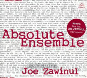 Absolute Zawinul (with Absolute Ensemble) by ZAWINUL, JOE album cover